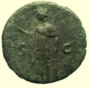 reverse: Impero Romano. Vespasiano. 69-79 d.C. Asse. Ae. : D\ IMP CAESAR VESP AVG COS VII Testa laureata verso destra. R\ Spes avanza con un fiore verso sinistra, ai lati S-C. RIC.583. Peso 9,4 gr. Diametro 24,4 mm. BB