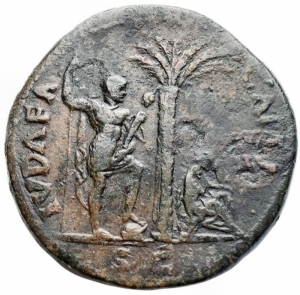 obverse: Impero Romano - Vespasian (AD 69-79. AE Sestertius, AD 71. Obv: IMP CAES VESPASIAN AVG P M TR P P P COS III, laureate bust of Vespasian right. Rev: IVDAEA - CAPTA, palm tree in center; bearded Jew (on left) standing right, his hands tied behind his back, two grounded shields behind, Judaea (on right) seated right on cuirass in attitude of mourning, resting left elbow on knee and supporting head with her left hand, grounded shield before; S C in exergue. Ref: RIC II 159. Hendin 1500. Weight: 23.3 gr. Diameter: 34.1 mm. aVF