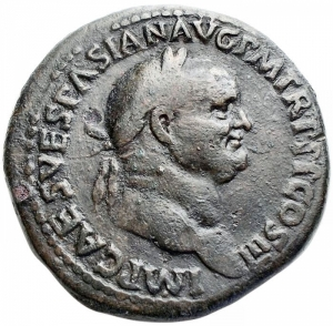 reverse: Impero Romano - Vespasian (AD 69-79. AE Sestertius, AD 71. Obv: IMP CAES VESPASIAN AVG P M TR P P P COS III, laureate bust of Vespasian right. Rev: IVDAEA - CAPTA, palm tree in center; bearded Jew (on left) standing right, his hands tied behind his back, two grounded shields behind, Judaea (on right) seated right on cuirass in attitude of mourning, resting left elbow on knee and supporting head with her left hand, grounded shield before; S C in exergue. Ref: RIC II 159. Hendin 1500. Weight: 23.3 gr. Diameter: 34.1 mm. aVF