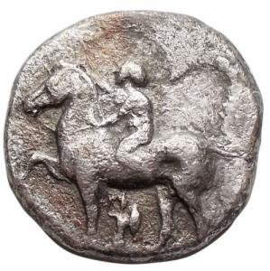 obverse: Mondo Greco - Calabria. Tarentum.Nomos, circa 380-340 a.C.D/ Giovane nudo che incorona il suo cavallo a sinistra. Sotto il cavallo, Palladio.R/ TAPAΣ. Taras su delfino a sinistra, tiene kantharos (?) nella mano destra. Sotto il delfino, P.HN(Italy) 875. SNG Fitzwilliam 258. Vlasto 425. SNG ANS 918.AG.g 7,12.mm 20,06. qBB