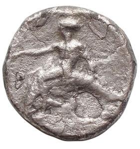 reverse: Mondo Greco - Calabria. Tarentum.Nomos, circa 380-340 a.C.D/ Giovane nudo che incorona il suo cavallo a sinistra. Sotto il cavallo, Palladio.R/ TAPAΣ. Taras su delfino a sinistra, tiene kantharos (?) nella mano destra. Sotto il delfino, P.HN(Italy) 875. SNG Fitzwilliam 258. Vlasto 425. SNG ANS 918.AG.g 7,12.mm 20,06. qBB