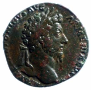 obverse: Impero Romano. Marco Aurelio. 161-180 d.C. Sesterzio. AE. D/ Busto laureato a destra. R/ TR P XVIII IMP II COS III SC. Marte stante a destra. RIC 862. Peso 22,04 gr. Diametro 33,00 mm. qSPL\BB+.___