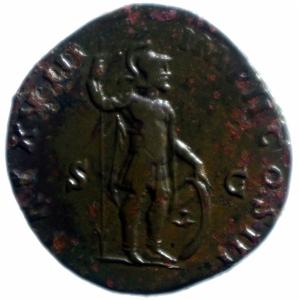 reverse: Impero Romano. Marco Aurelio. 161-180 d.C. Sesterzio. AE. D/ Busto laureato a destra. R/ TR P XVIII IMP II COS III SC. Marte stante a destra. RIC 862. Peso 22,04 gr. Diametro 33,00 mm. qSPL\BB+.___
