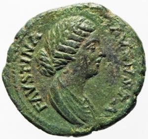 obverse: Impero Romano. Faustina II, morta nel 175 d.C. Asse. Ae. D/ FAVSTINA AVGVSTA, Busto drappeggiato verso destra. R/ VESTA Vesta stante verso sinistra con simpulum e palladion. RIC 1690. Peso 10,25 gr. Diametro 24,16 mm. BB+. Patina Verde.