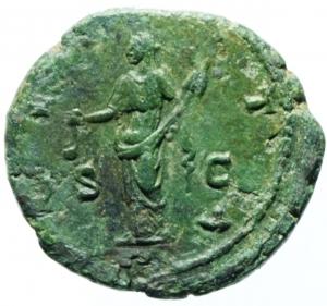 reverse: Impero Romano. Faustina II, morta nel 175 d.C. Asse. Ae. D/ FAVSTINA AVGVSTA, Busto drappeggiato verso destra. R/ VESTA Vesta stante verso sinistra con simpulum e palladion. RIC 1690. Peso 10,25 gr. Diametro 24,16 mm. BB+. Patina Verde.