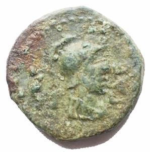 obverse: Mondo Greco - Lucania, Paestum (Circa 90-44 A.C). AE Semis.D/ Busto elmato a destra. R/ Mani giunte; L · FAD sopra, [L · S]A sotto. AE, 4,15 gr. Crawford,Paestum32; HN Italy 1250; SNG ANS 790.BB+. Intonso conpatina verde.