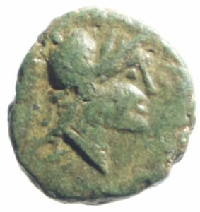 obverse: Mondo Greco. Lucania. Velia. II -I a.C. Ae. D/ Testa di Athena con elmo corinzio verso destra. R/ Tripode Y E A H. Peso gr. Diametro 13,3 mm. BB+.Intonso con splendida patina verde.po