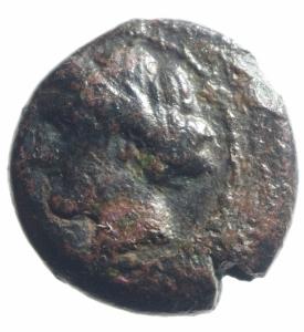 obverse: Mondo Greco. Lucania Eraclea. 281-272 a.C. Ae. D/ Testa di Demetra verso sinistra. R/ Spiga di grano, a destra etnico. SNG ANS 99. Peso gr. Diametro 20 mm. qBB. R.po