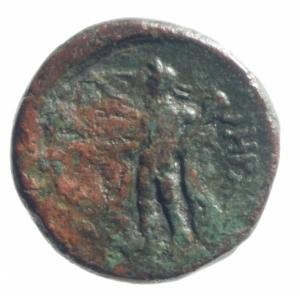 reverse: Mondo Greco. Lucania. Heraclea. 380-281 a.C. Ae. D/ Testa di Atena a destra . R/ Eracle a sinistra con clava e pelle di leone. SNG Cop.1139. Peso 3,90 gr. Diametro 16,13 mm. BB. R.po