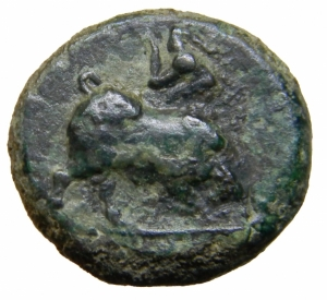 reverse: Mondo Greco. Lucania. Poseidonia. 420-405 a.C. AE. D/ Poseidone avanza a destra. R/ Toro cozzante a sinistra. AE. SNG Cop. 1313.Mun.2601. Peso 6,13 gr.Diametro 17,50 BB+.