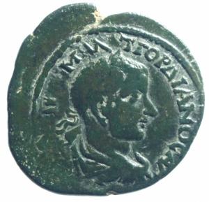 obverse: Provincia Romana Adrianopolis. Tracia. Gordiano III. 238-244 d.C. D/ YT K M ANT γορδιανοC AVγ. Busto laureato a destra. R\ AδPIANOπOλETωN Peso 8,95 gr. Diametro 26 mm. BB+.