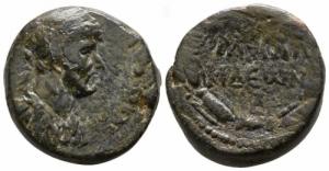 obverse: Provincia Romana. Adriano. Pieria. Antiochia. 117-138 d.C. : D\ Busto verso destra. Peso 12,65 gr. Diametro 22 mm. qBB.