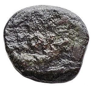 reverse: Barbari - Vandali in Africa. Nummo Ae. 5°-6° Sec. Cartagine. d/ busto laureato e drappeggiato a ds r/ VOT/MVLT su due linee entro corona. gr 1,07. mm 10,2 x 11,2.Wroth -. qBB. R