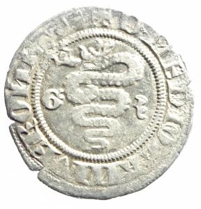 reverse: Zecche Italiane. Milano. Gian Galeazzo Visconti. 1385-1402. Sesino. Ag. D/ Biscione, ai lati G-Z. R/ Croce.CNI 81\83. Peso gr. 1,05 Diametro mm. 20,00. BB+.