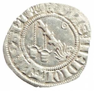 obverse: Zecche Italiane. Milano. Galeazzo Visconti. 1355-78. Sesino. Ag. D/ Cimiero R/Tizzone con 2 secchie .CNI 13\19. Peso gr. 1,06 Diametro mm. 21,00. SPL.