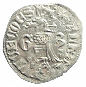 reverse: Zecche Italiane. Milano. Galeazzo Visconti. 1355-78. Sesino. Ag. D/ Cimiero R/Tizzone con 2 secchie .CNI 13\19. Peso gr. 1,06 Diametro mm. 21,00. SPL.