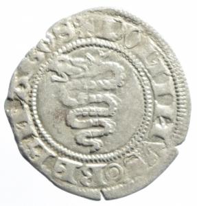 reverse: Zecche Italiane. Milano. Barnabò Visconti. 1378-1385. Sesino. AG. Cr. 5/A. Peso gr. 1.06. BB+.