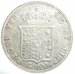 reverse: Zecche Italiane. Napoli. Ferdinando II. 1830-1859. 120 grana 1855. AG. P.R. 84. MIR 503/4. BB