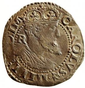 obverse: Zecche Italiane. Napoli. Carlo V. 1516-1556. Carlino. AG. P.R. 36c. MIR 148/3. Peso gr. 2.87. Bel BB/BB. Schiacciature da conio. NC.