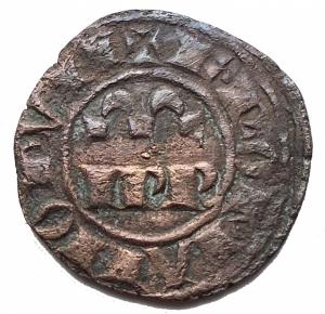obverse: Zecche Italiane - Messina Federico II (1197-1250) Denaro del 1245.D/ IPR doppia omega R/ Croce, nei quarti crescenti. Sp.135. MI, gr 1,06.BB+