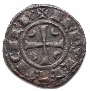 reverse: Zecche Italiane - Messina Federico II (1197-1250) Denaro del 1245.D/ IPR doppia omega R/ Croce, nei quarti crescenti. Sp.135. MI, gr 1,06.BB+