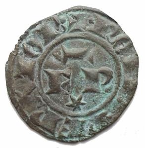 obverse: Zecche Italiane - Messina o Brindisi. Federico II (Re di Sicilia, 1198-1250; Re di Germania, 1212-1220; Imperatore, 1220-1250), Denaro 1247-1248; BI (g 0,33) d/ + ROM IPERATOR, nel campo, FR; sopra, asta orizzontale, sotto, astro r/ + R IERSL' ET SICIL', croce celtica. Spahr 143; MEC XIV, 565-566; Travaini 44. BB-qSPL. Patina verde
