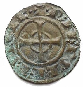 reverse: Zecche Italiane - Messina o Brindisi. Federico II (Re di Sicilia, 1198-1250; Re di Germania, 1212-1220; Imperatore, 1220-1250), Denaro 1247-1248; BI (g 0,33) d/ + ROM IPERATOR, nel campo, FR; sopra, asta orizzontale, sotto, astro r/ + R IERSL' ET SICIL', croce celtica. Spahr 143; MEC XIV, 565-566; Travaini 44. BB-qSPL. Patina verde