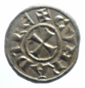 obverse: Zecche Italiane. Genova. Repubblica. 1139-1339. Denaro a nome di Corrado. Ag. MIR 16. Peso gr. 0.80. SPL.***