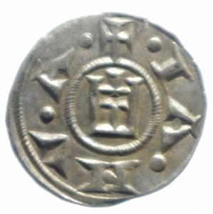 reverse: Zecche Italiane. Genova. Repubblica. 1139-1339. Denaro a nome di Corrado. Ag. MIR 16. Peso gr. 0.80. SPL.***