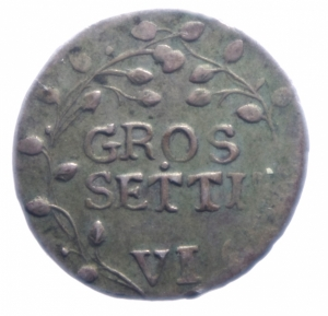 reverse: Zecche Italiane.Ragusa.1801 da 6 Grossetti .Peso 2,10 gr.Diametro 21,00. BB+.***