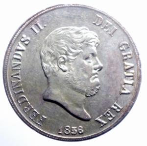 obverse: Zecche Italiane. Napoli. Ferdinando II di Borbone. 1830-1859. 120 grana o piastra 1856. AG. MIR 503/5. P.R. 85. Gig. 87. Bel BB+\qSPL.***
