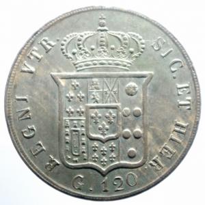 reverse: Zecche Italiane. Napoli. Ferdinando II di Borbone. 1830-1859. 120 grana o piastra 1856. AG. MIR 503/5. P.R. 85. Gig. 87. Bel BB+\qSPL.***
