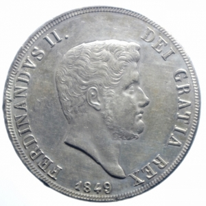 obverse: Zecche Italiane.Napoli. Ferdinando II di Borbone (1830-1859). 120 grana o piastra 1849. MIR 501/12. P.R. 76. Gig. 78. AG. RRR.BB+.***