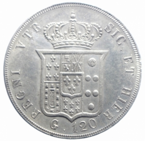 reverse: Zecche Italiane.Napoli. Ferdinando II di Borbone (1830-1859). 120 grana o piastra 1849. MIR 501/12. P.R. 76. Gig. 78. AG. RRR.BB+.***