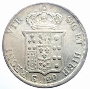 reverse: Zecche Italiane. Napoli. Ferdinando II di Borbone. 1830-1859. Piastra 120 Grana 1834. AR. P/R 58. MIR 499/4. BB+.***