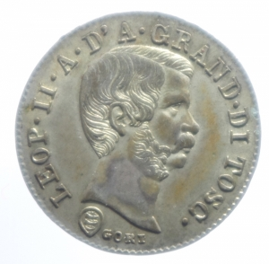 obverse: Zecche Italiane. Firenze. Leopoldo II. 1824-1859. 10 quattrini 1858. AG. Gig.67. qFDC.***