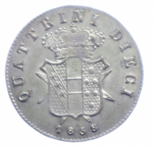reverse: Zecche Italiane. Firenze. Leopoldo II. 1824-1859. 10 quattrini 1858. AG. Gig.67. qFDC.***
