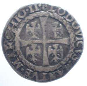 reverse: Zecche Italiane.Mantova. Ludovico III Gonzaga (1444-1478). Mezzo testone. MIR 393. CNI 28. B. 1143. AG. g. 3.30 RR.qBB.***