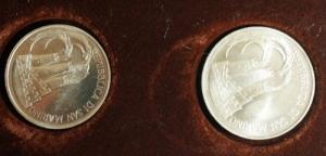 obverse: San Marino. Dittico 1984  XXIII Olimpiade : 1 000 lire e 500 lire. AG. FS.