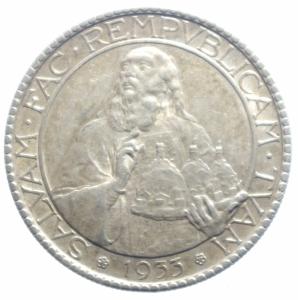 obverse: San Marino. Vecchia Monetazione. 1864-1938. 20 lire 1933. AG. Pag.344.qSPL.***.