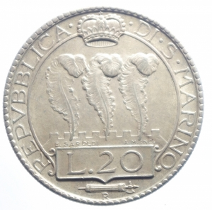 reverse: San Marino. Vecchia Monetazione. 1864-1938. 20 lire 1933. AG. Pag.344.qSPL.***.