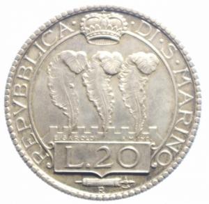 reverse: San Marino. 20 Lire 1931. qSPL. NC.***
