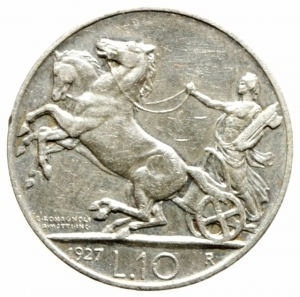 obverse: Casa Savoia. Vittorio Emanuele III. 10 lire 1927 Biga. Due rosette. SPL