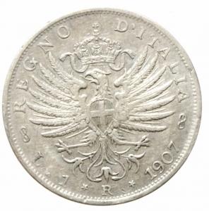 obverse: Casa Savoia. Vittorio Emanuele III. 1 Lira 1907 Aquila. Ag. Pagani 7767. BB+.