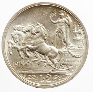 reverse: Casa Savoia. Vittorio Emanuele III. 1900-1943. 2 lire 1915. AG. Pag. 738. Mont. 155. qFDC. Segnetto sul ciglio.