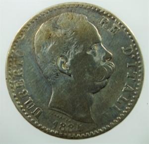 obverse: Casa Savoia. Umberto I. 2 Lire 1884. Ag. Roma. Peso 10,00 gr. Diametro 27,50 mm. qBB.
