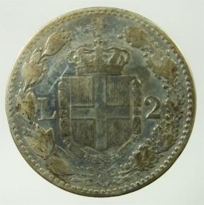 reverse: Casa Savoia. Umberto I. 2 Lire 1884. Ag. Roma. Peso 10,00 gr. Diametro 27,50 mm. qBB.