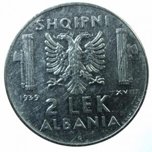 reverse: Casa Savoia.Albania. Vittorio Emanuele III. 1939-1943. 2 lek 1939 A. XVIII. AC.BB+.