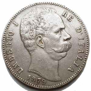 obverse: Casa Savoia - Umberto I. 1878-1900. 5 lire 1879. AG. Pag. 590. Mont. 33. Segnetti, colpetti. BB+