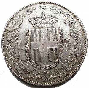 reverse: Casa Savoia - Umberto I. 1878-1900. 5 lire 1879. AG. Pag. 590. Mont. 33. Segnetti, colpetti. BB+